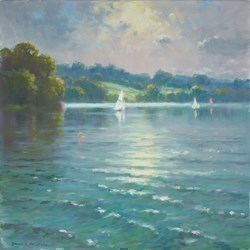Sailing at Carsington by James Preston -  sized 16x16 inches. Available from Whitewall Galleries